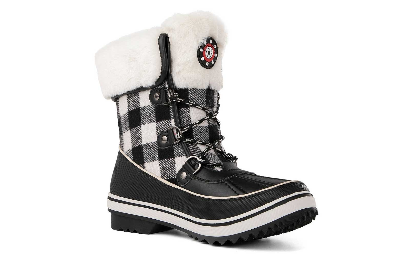 Plaid snow boots
