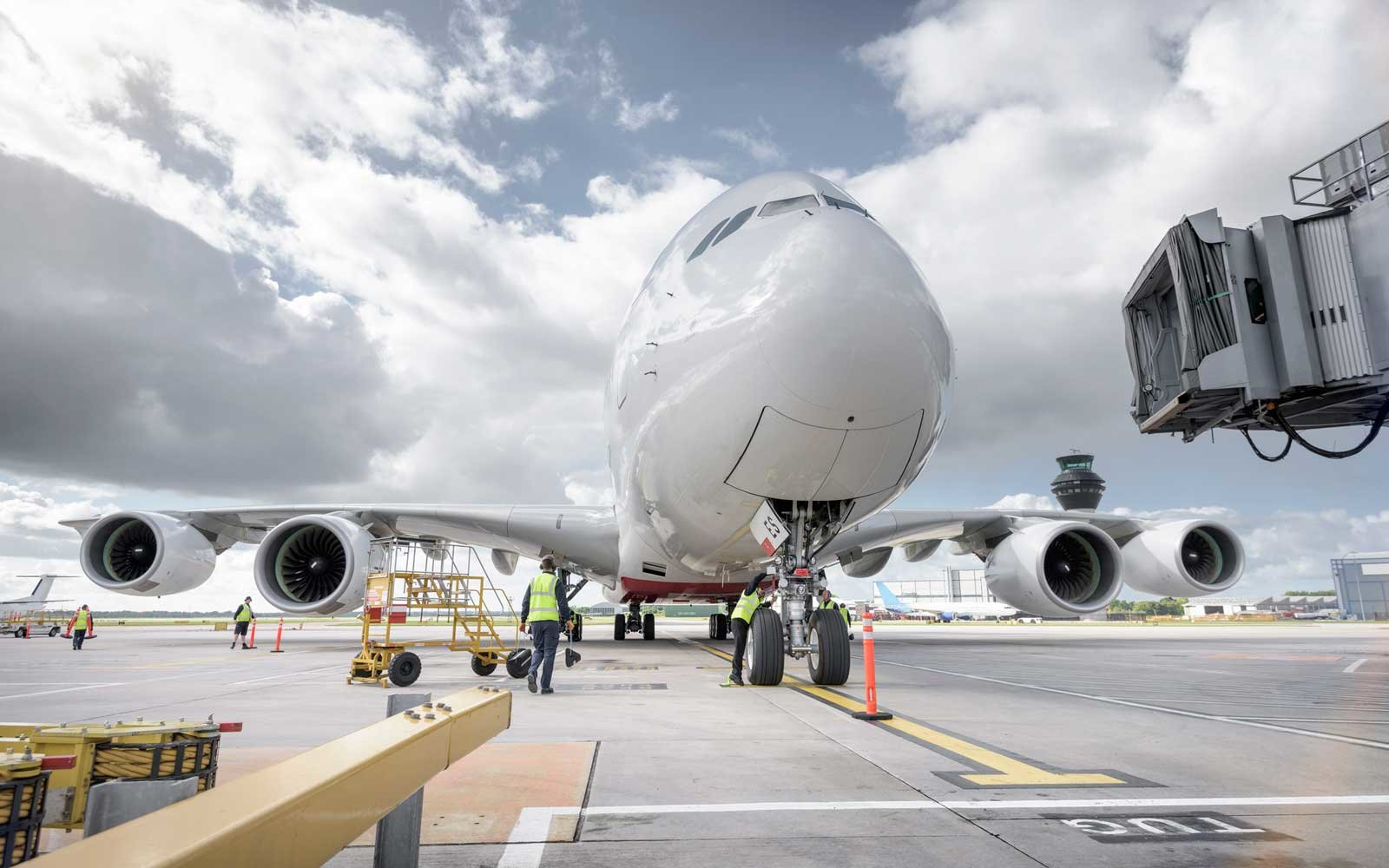 an A380 airplane arriving at the airport