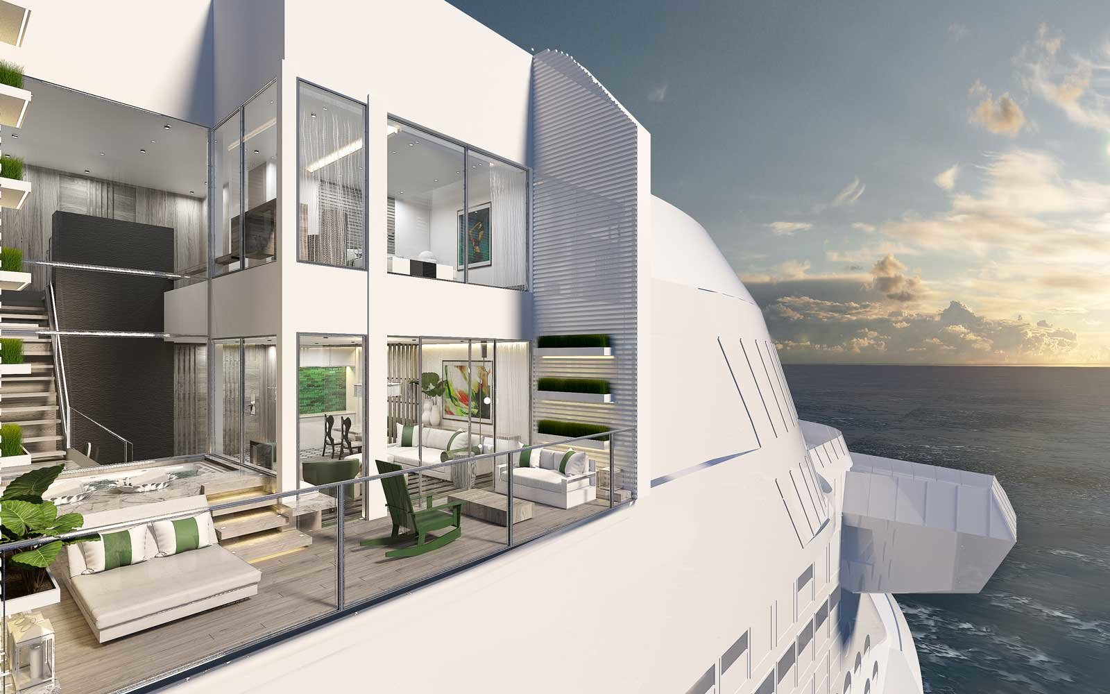 New Amenities on cruise ships include this two-story suite on the Celebrity Edge