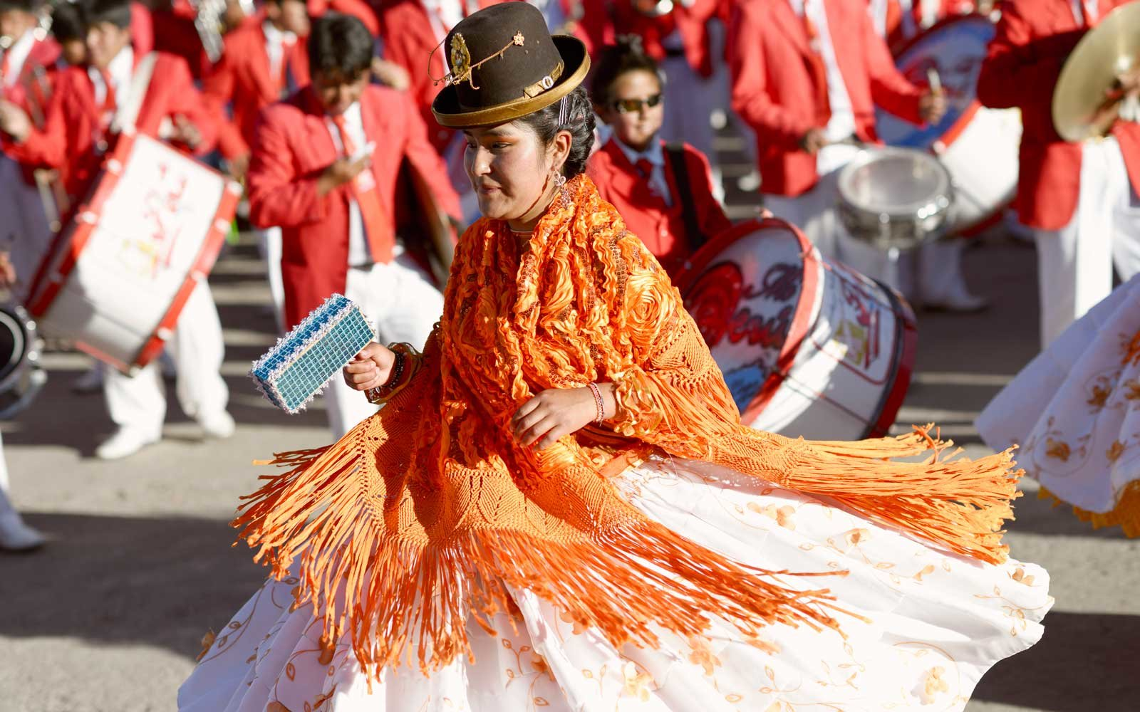 Aymara woman dancing at the Festival of the Virgin, Chucuito, Puno, Peru