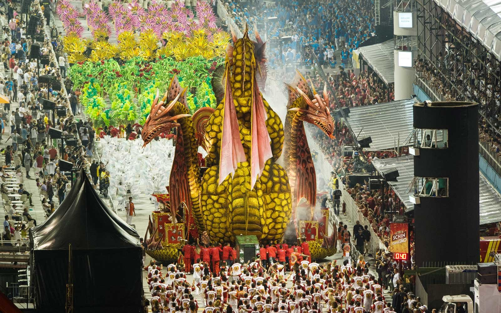 Carnival celebrations at the samba school parade in Sao Paulo, Brazil