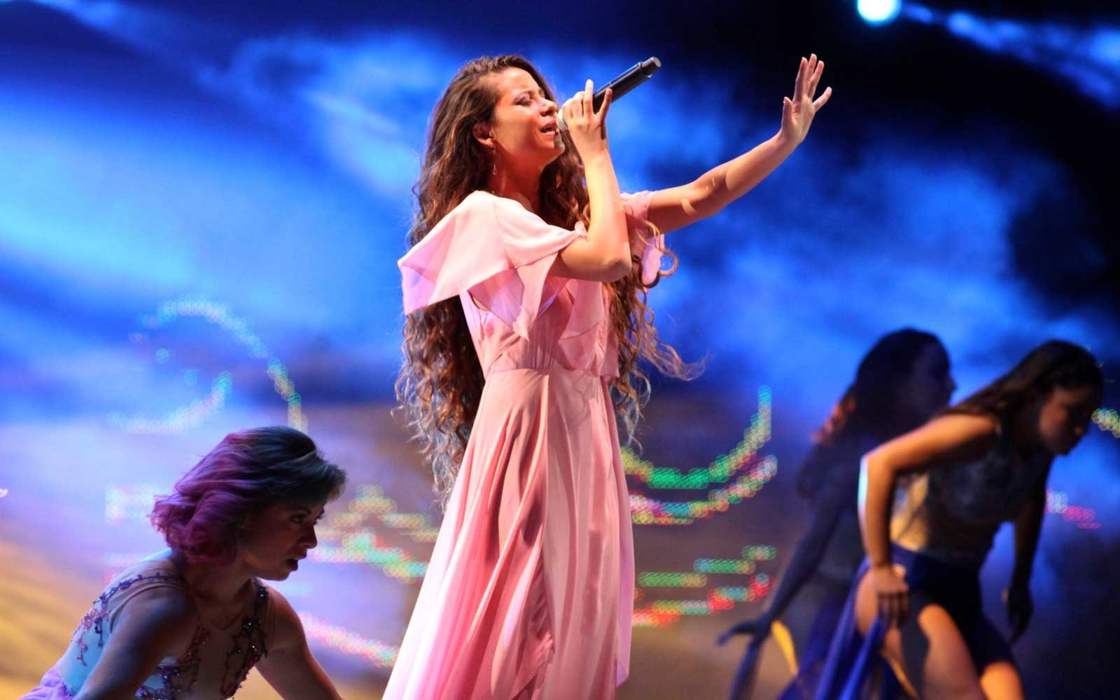 A singer performs at the Viña del Mar International Song Festival, Peru