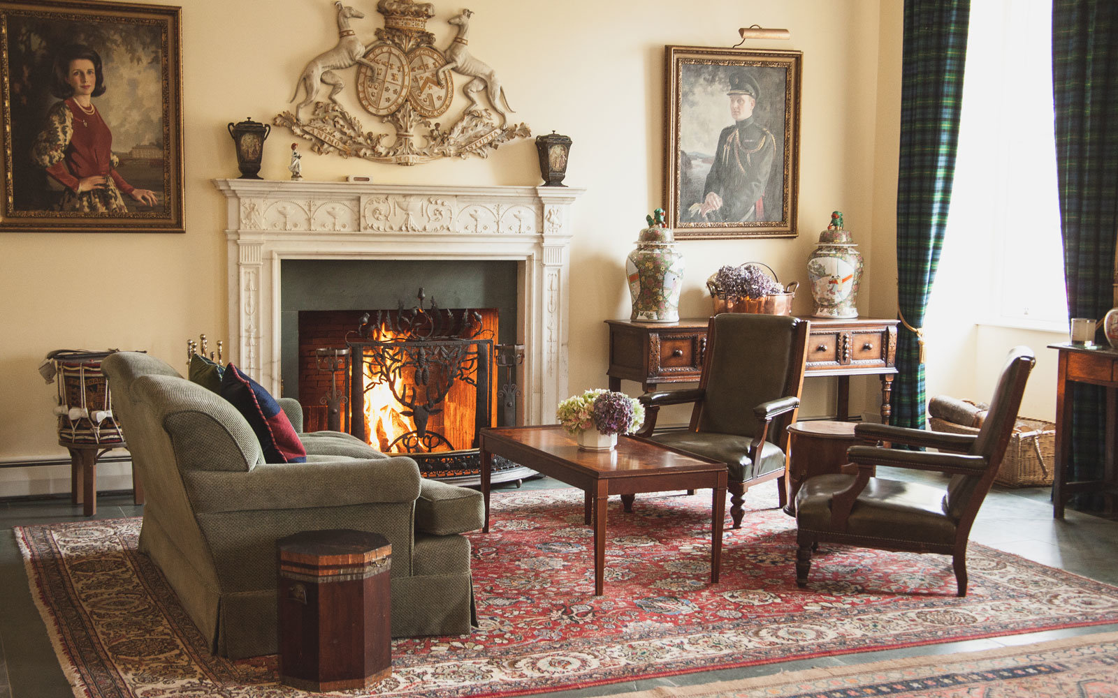 living room at Gordon Castle in the highlands of Scotland