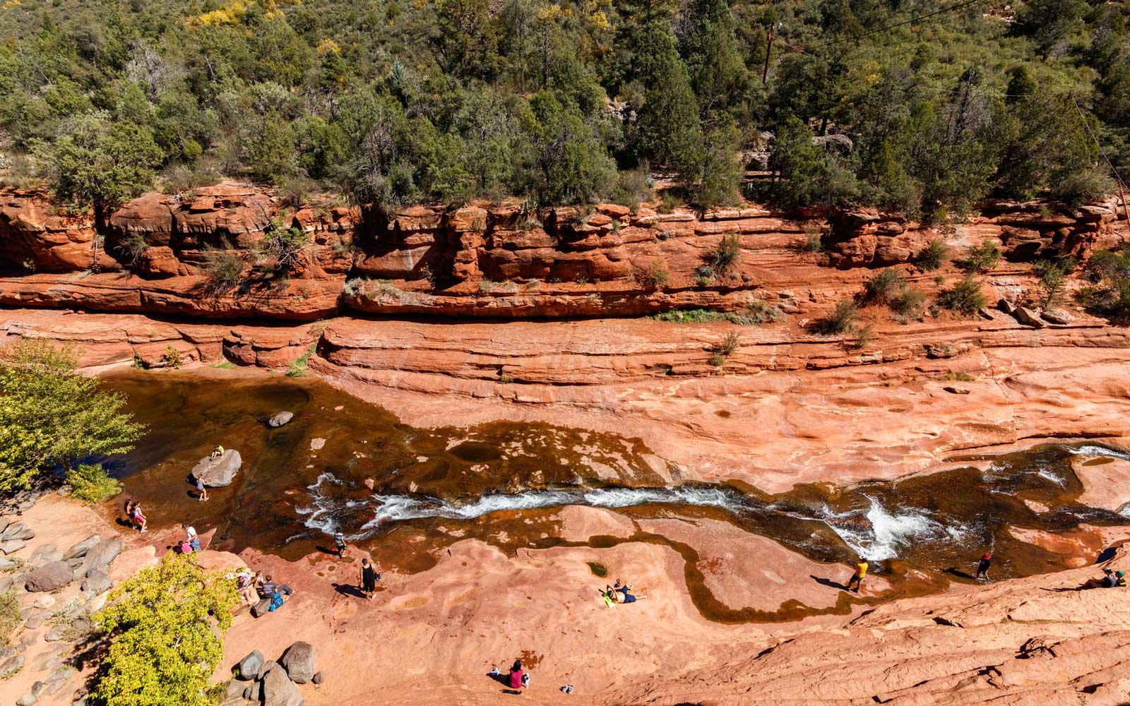 Slide Rock State Park with its natural rock water slides in the Oak Creek Canyon near Sedona.