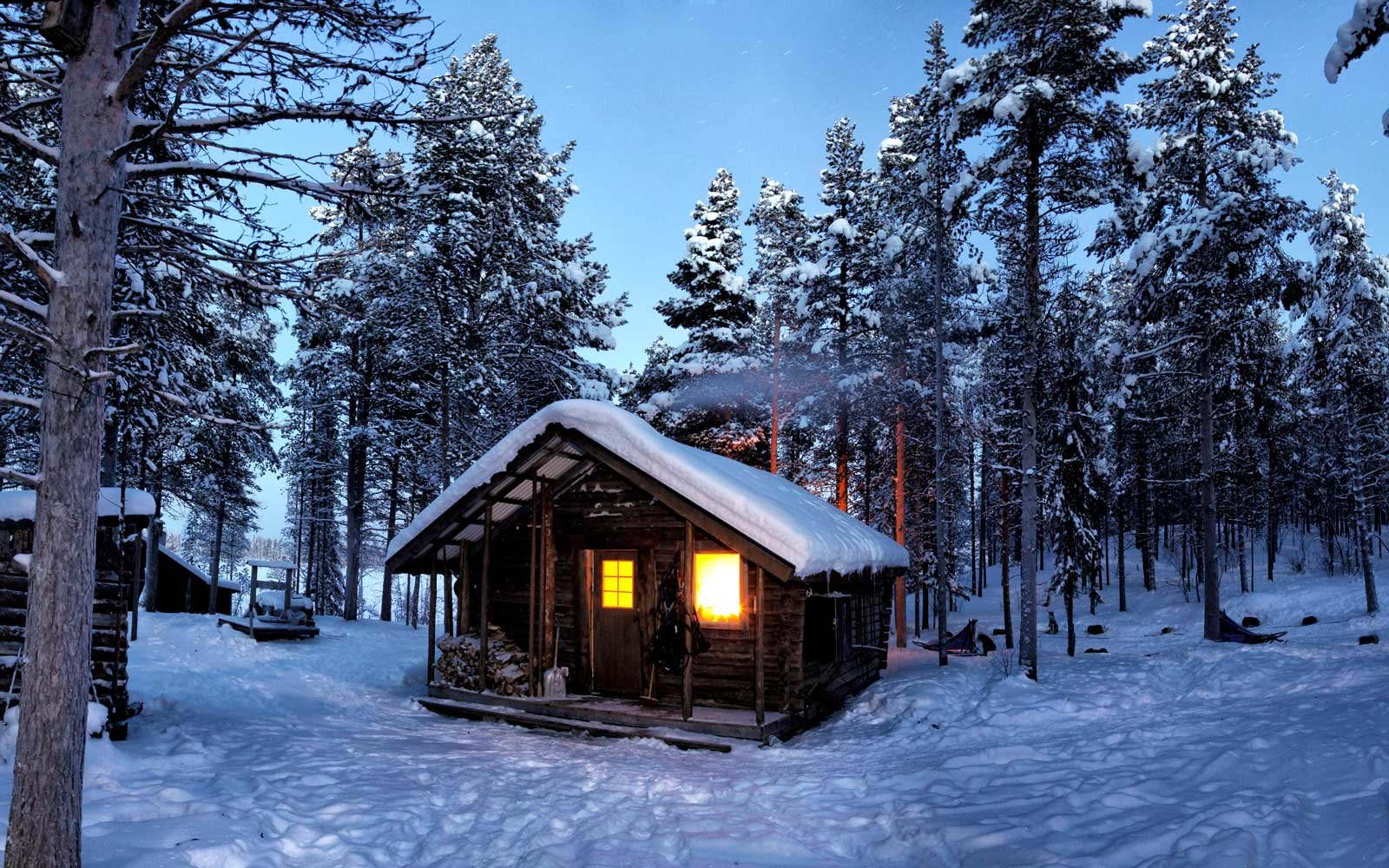 A cabin in the snowy forest near Kiruna, Sweden