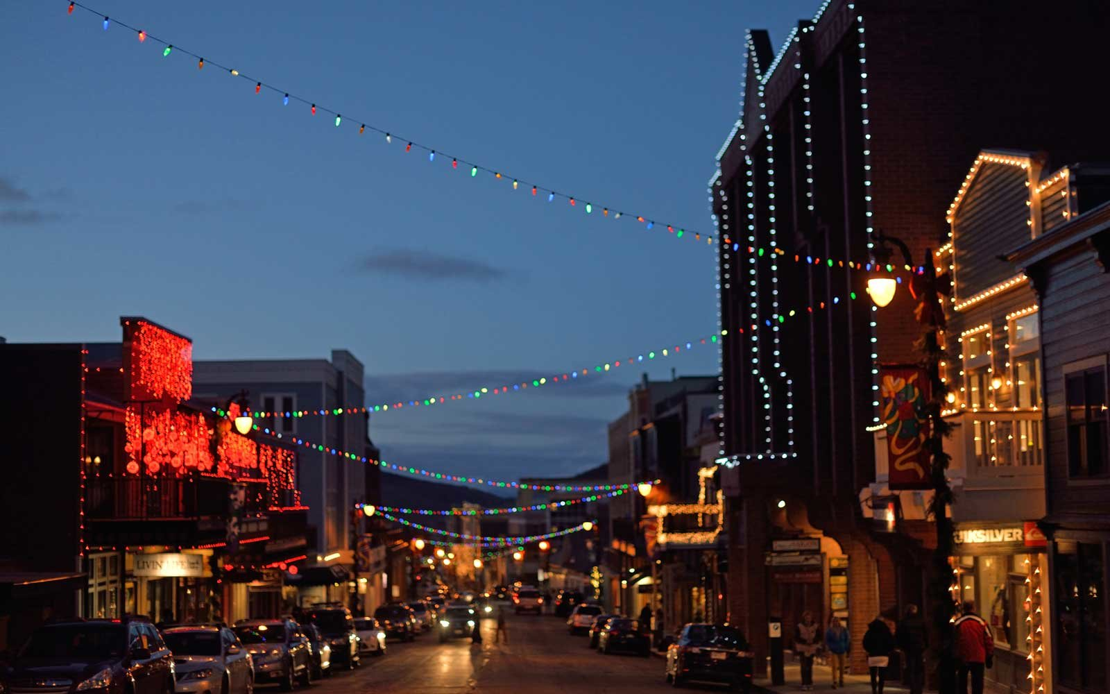 Park City main street lit for the holidays.