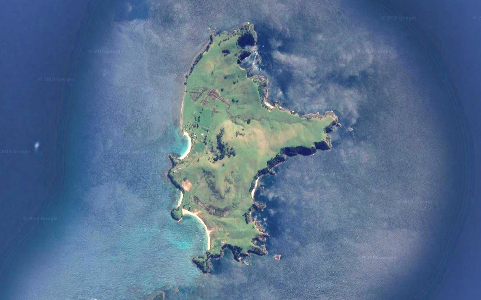 Satellite view of New Zealand's Slipper Island