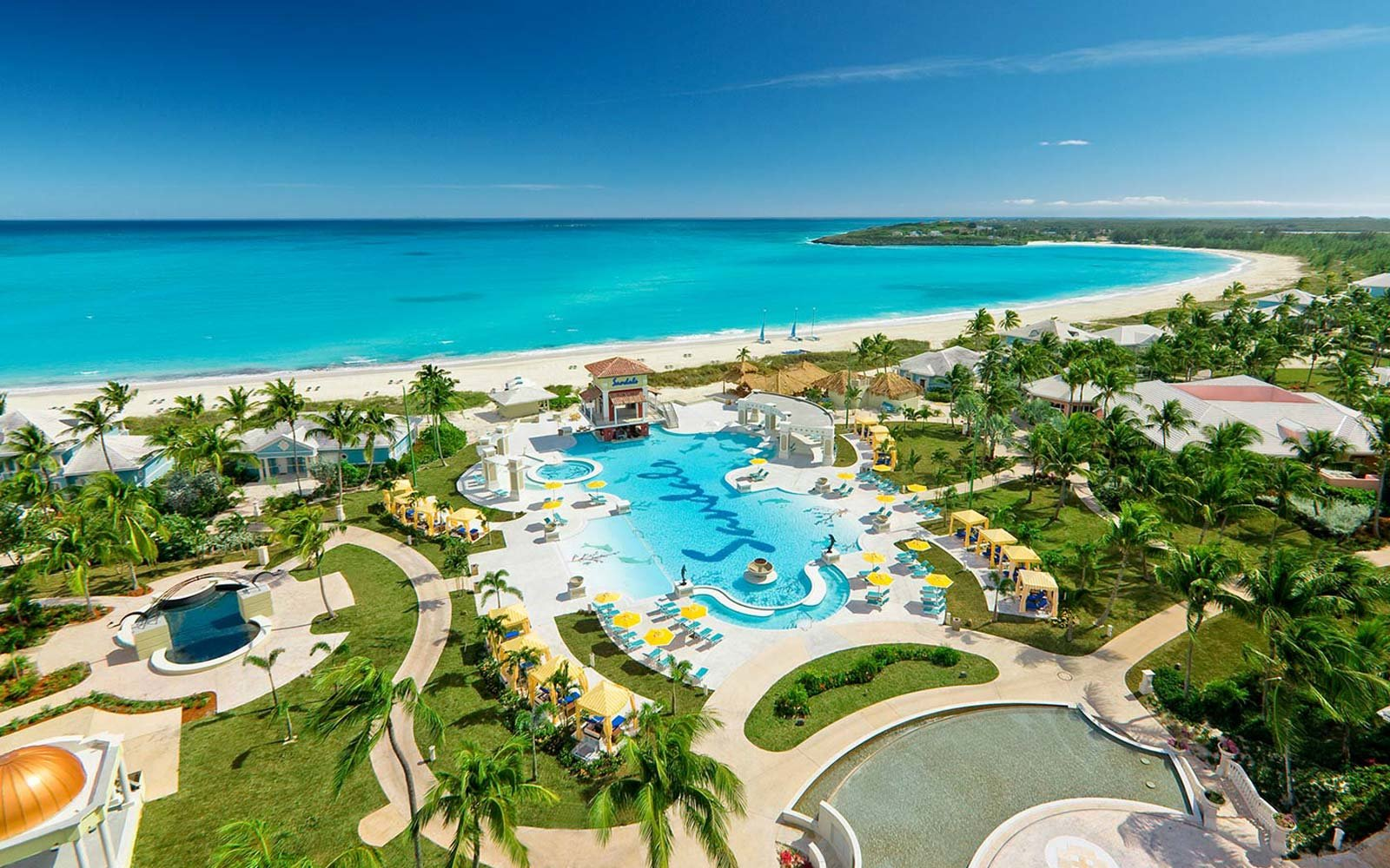 Overview of Sandals Emerald Bay resort in the Bahamas