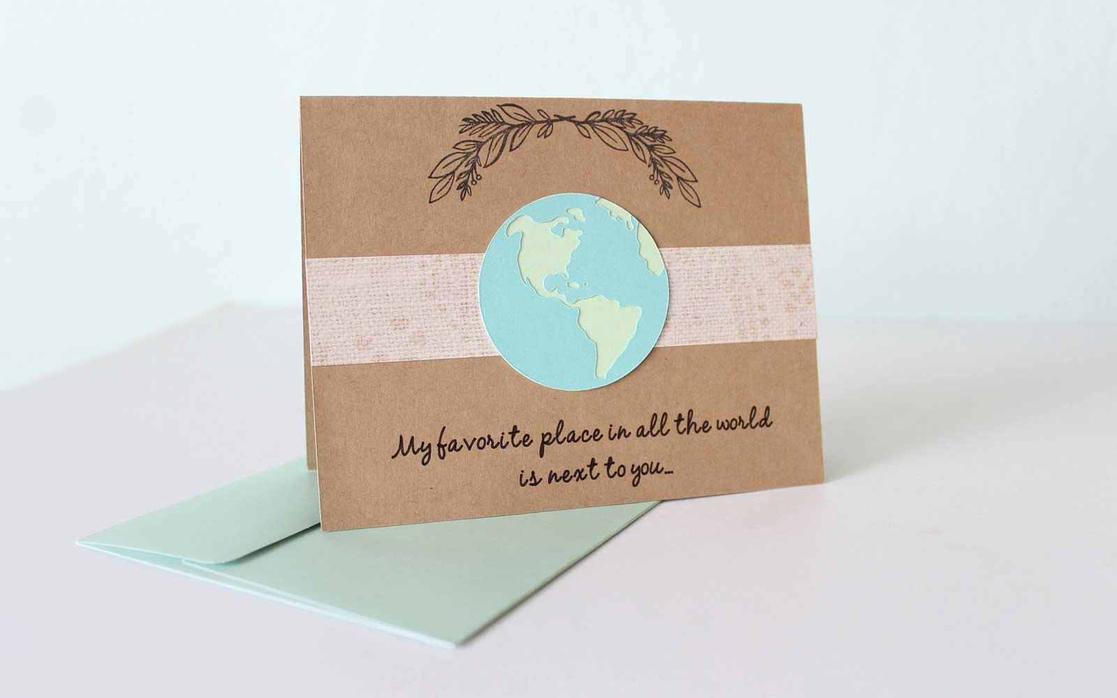 """My favorite place in the world is next to you"" Valentine card"