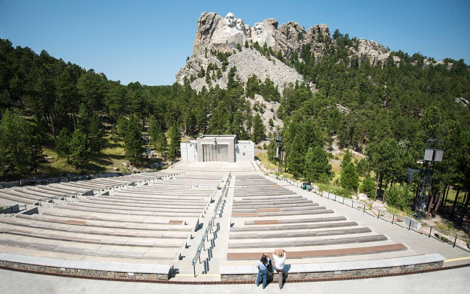 Tourists watching Mount Rushmore National Memorial