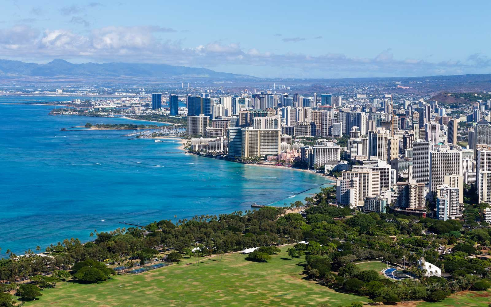 Elevated view of the Waikiki coastline