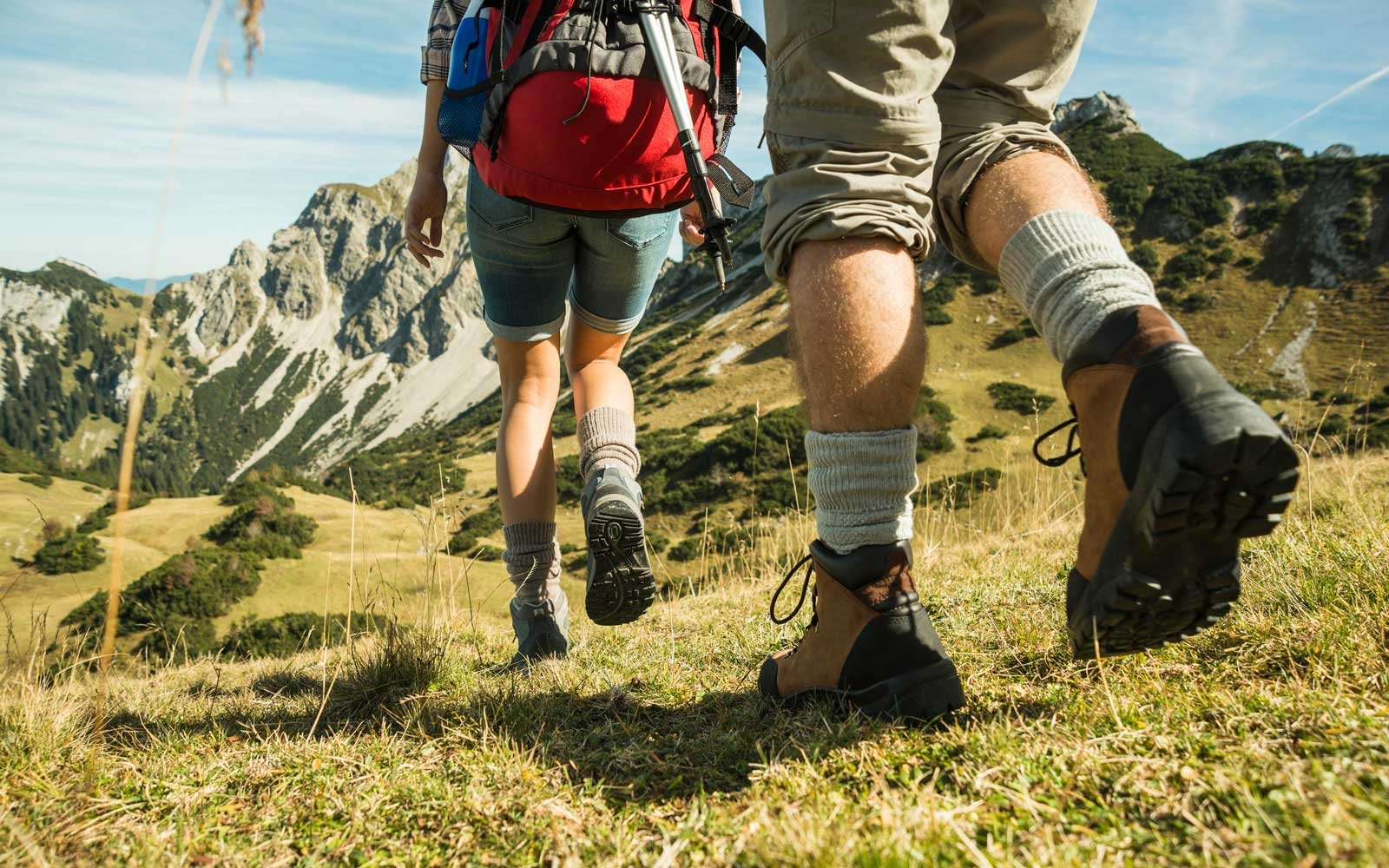 Couple hiking in the Italian Alps