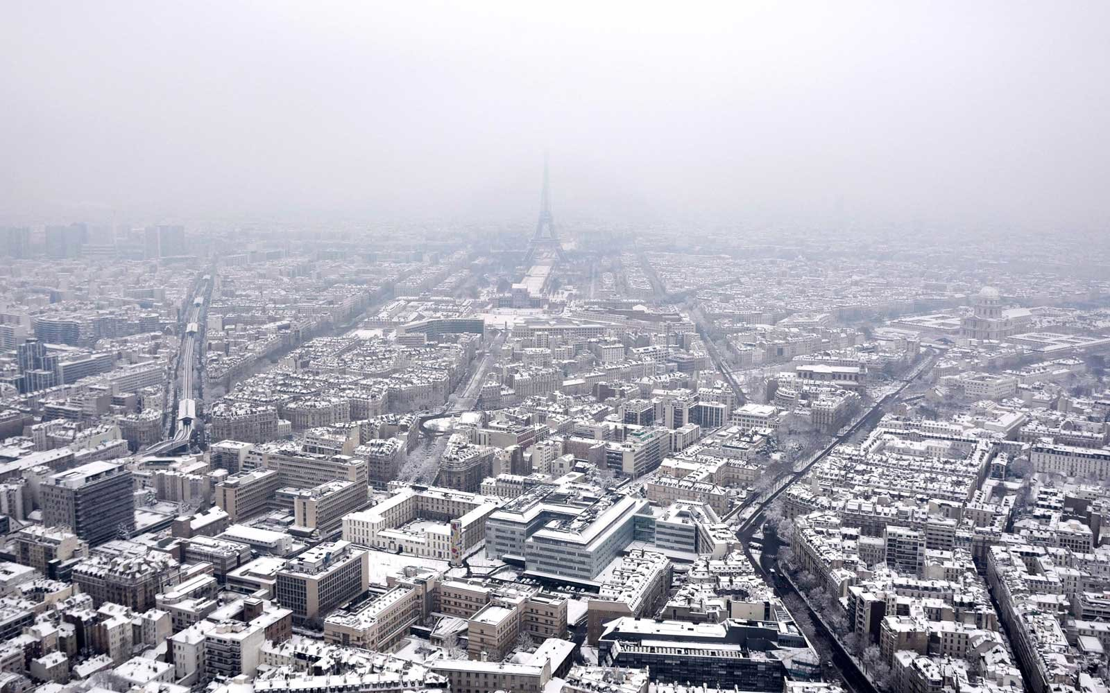 An aerial view of Paris, France covered in snow on February 7, 2018