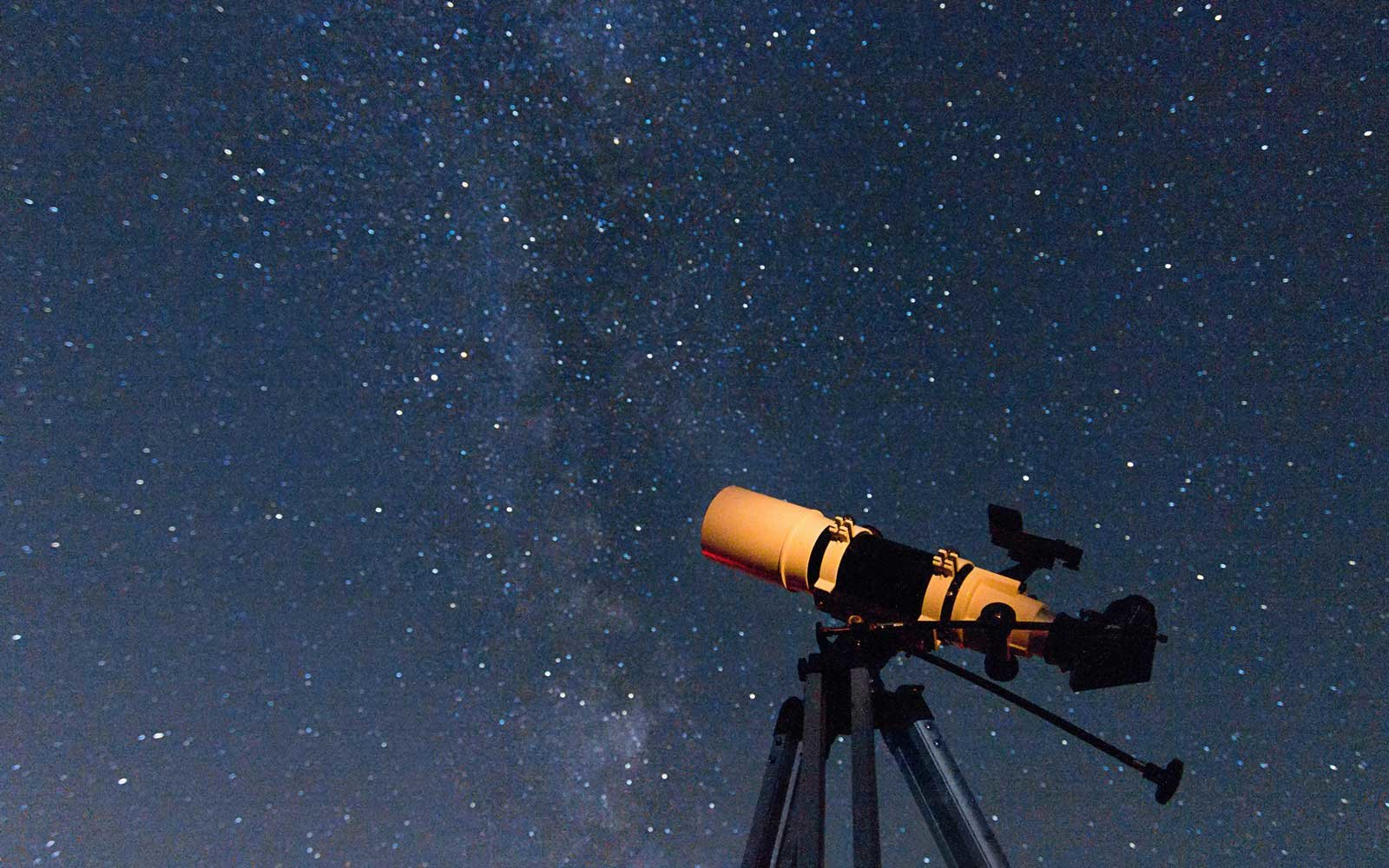 Telescope in real night sky.