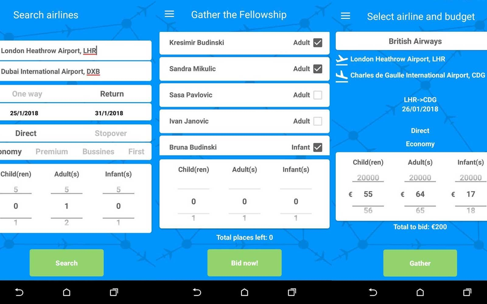 Air Ticket Arena, an Android app