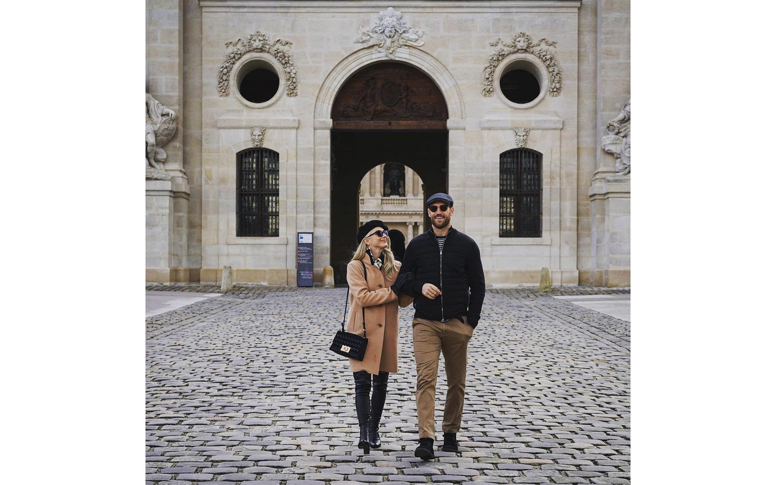 Julianne Hough and Brooks Laich walking through Paris