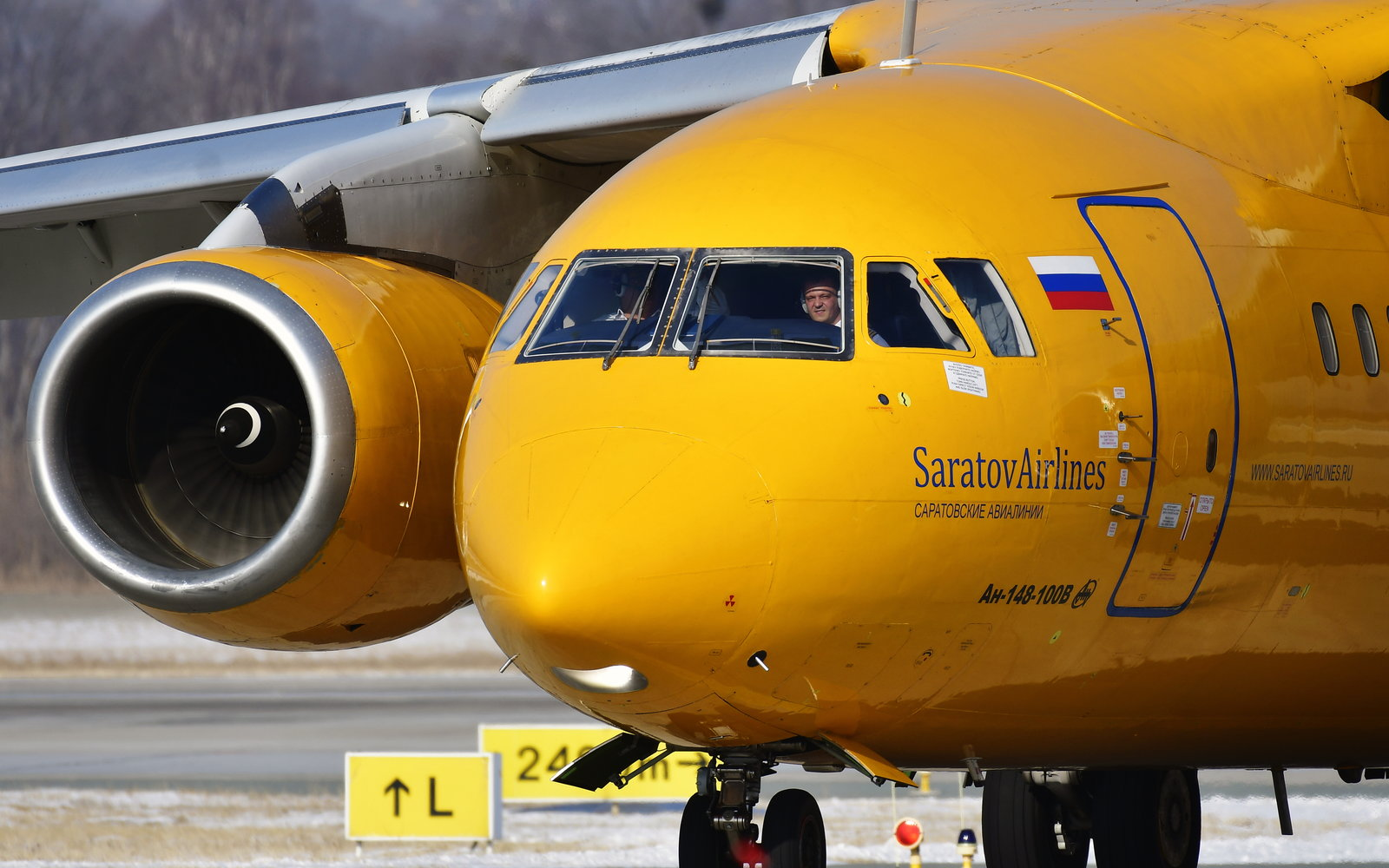 Saratov Airlines yellow airplane