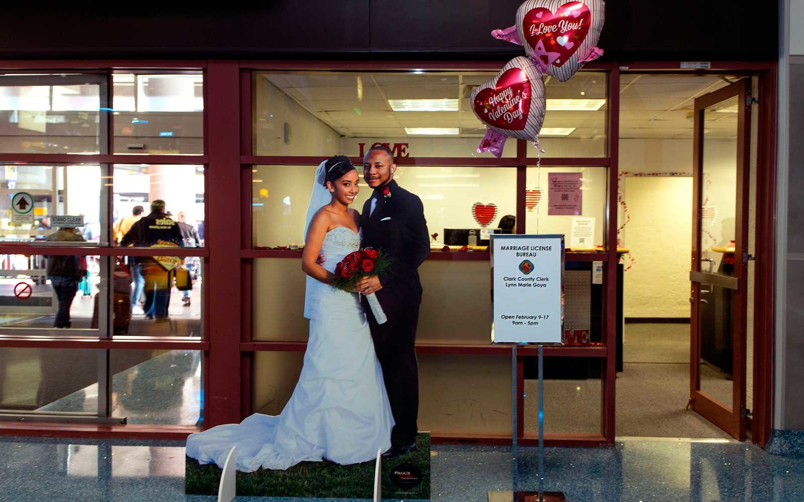The Clark County Clerk's Office operates a temporary pop-up marriage license office at McCarran International Airport in Las Vegas
