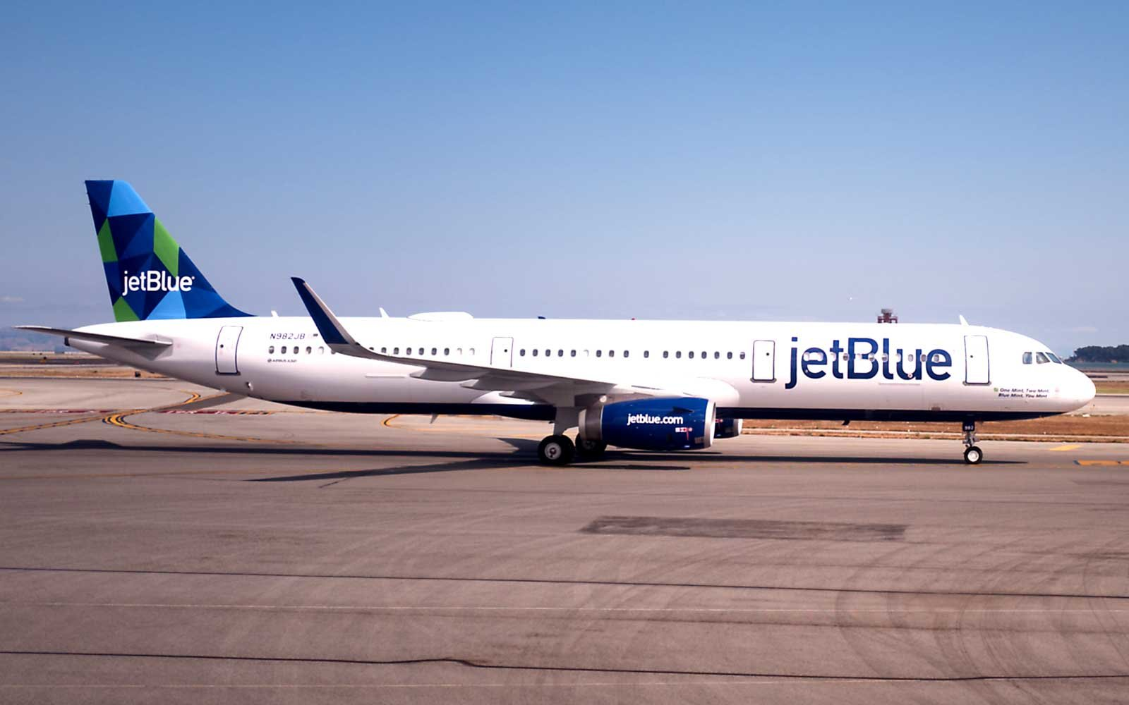 JetBlue passenger aircraft on the tarmac