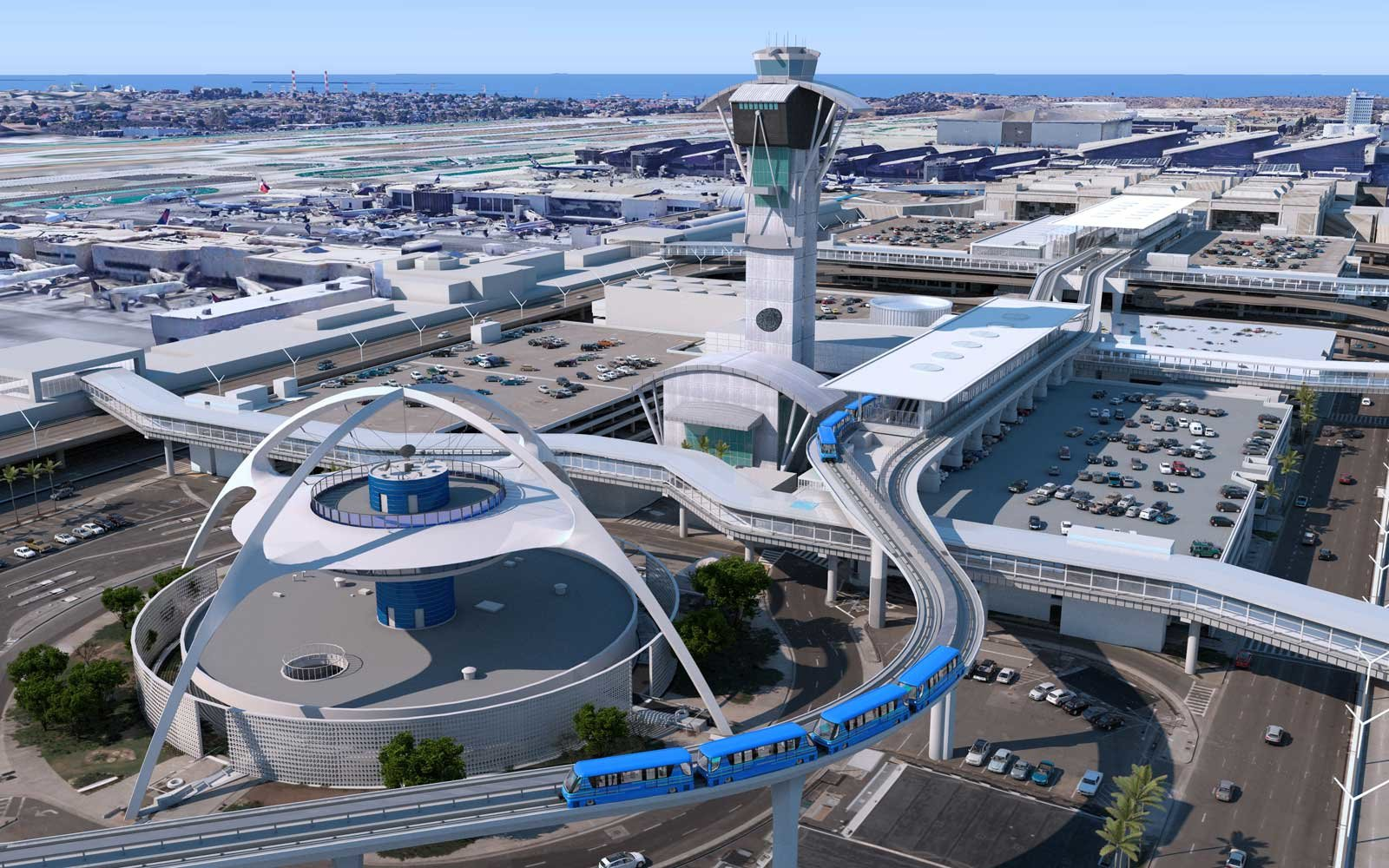 Los Angeles International Airport people mover tram rail system