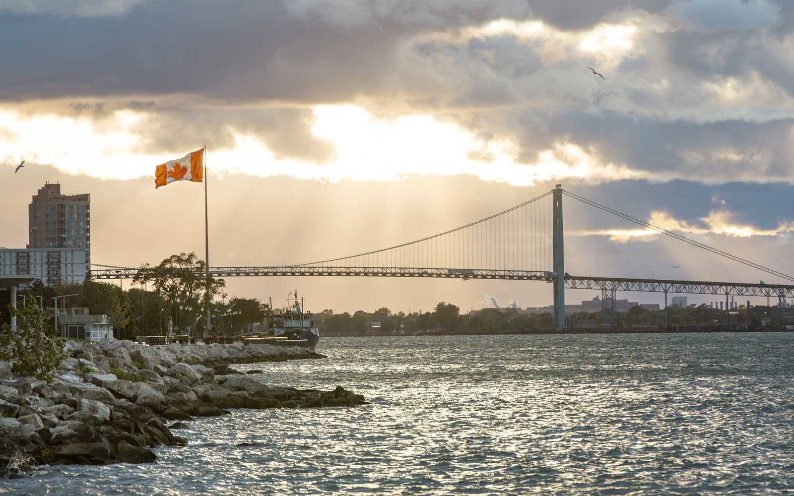 View of the Ambassador Bridge from Windsor, Ontario, Canada