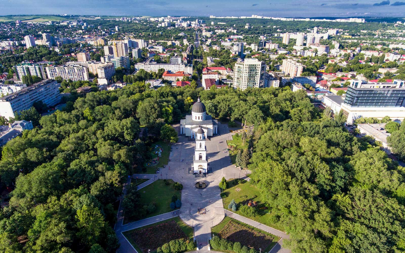 Chisinau, Republic of Moldova, aerial view from drone