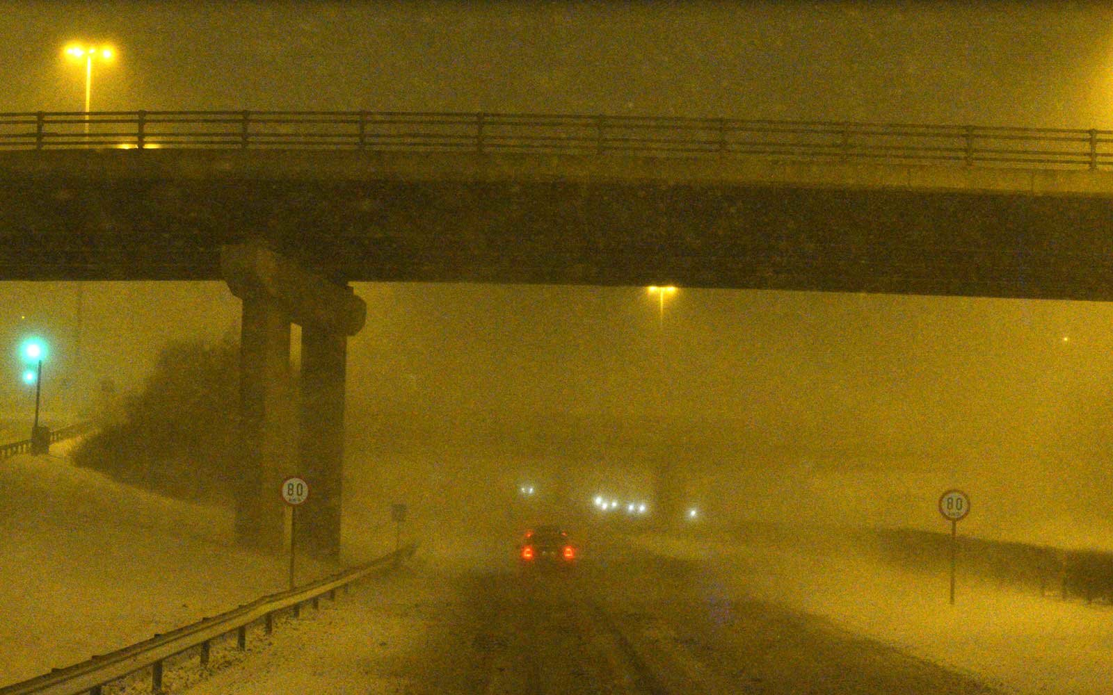 A view of the N1 road near Dublin's Airport as he 'Beast from the East' has hit Ireland