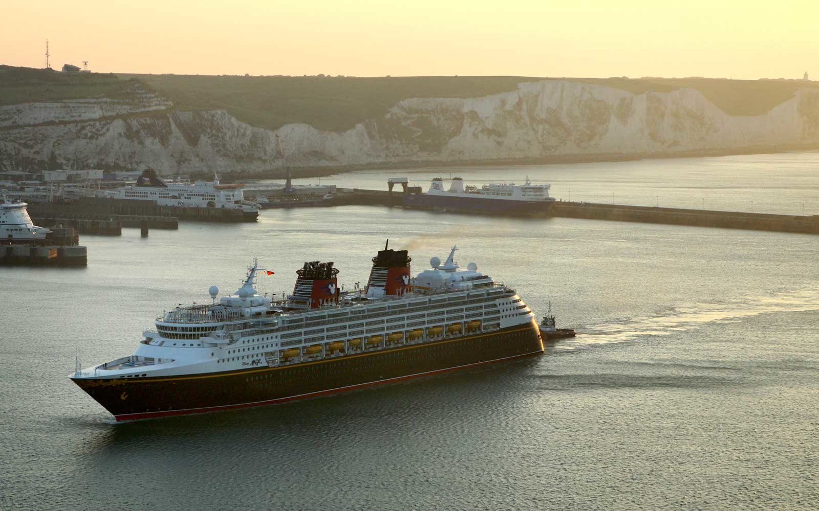 """Disney Magic"" Cruise Ship Passes The White Cliffs Of Dover England"