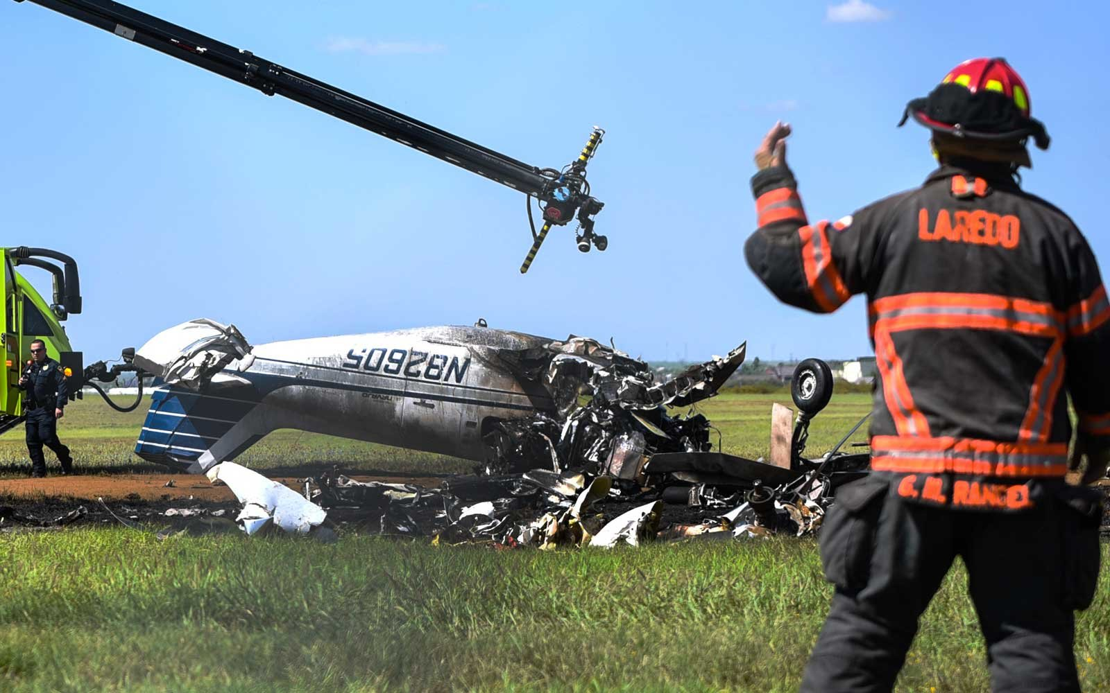 The remains of a small plane are seen after it was crashed at the Laredo International Airport in Laredo, Texas