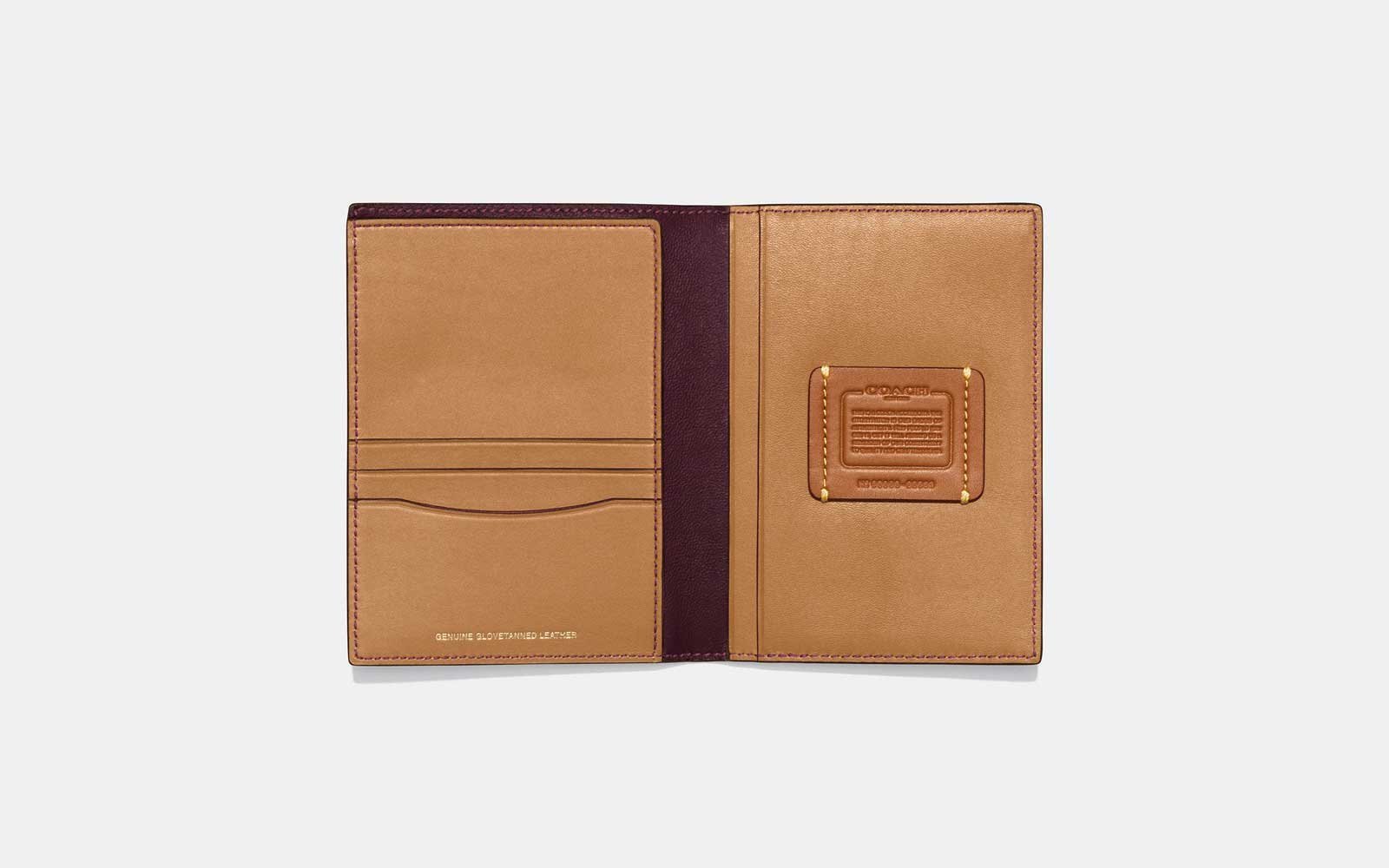 leather passport holder coach