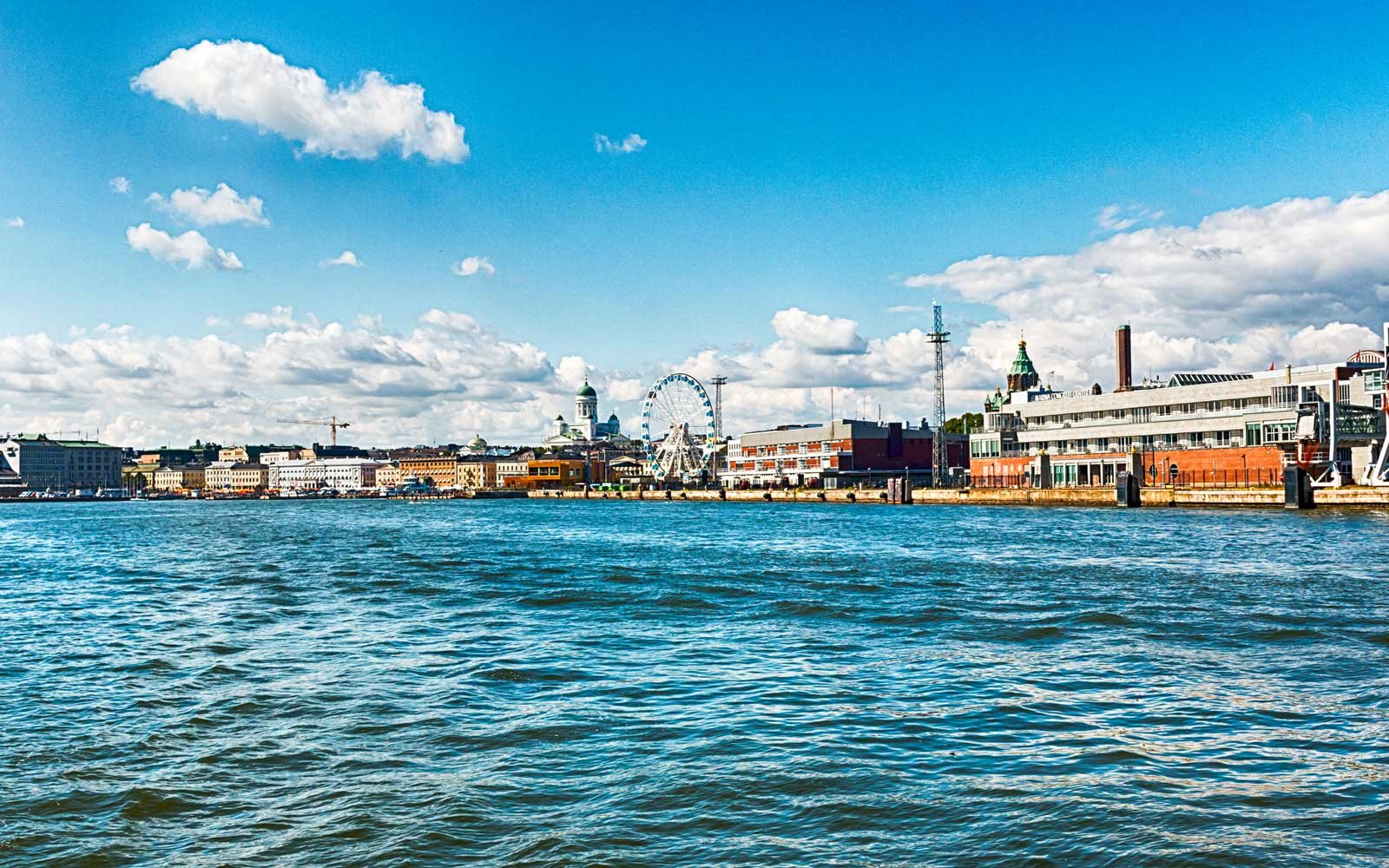 Cityscape and skyline of Helsinki, capital of Republic of Finland.