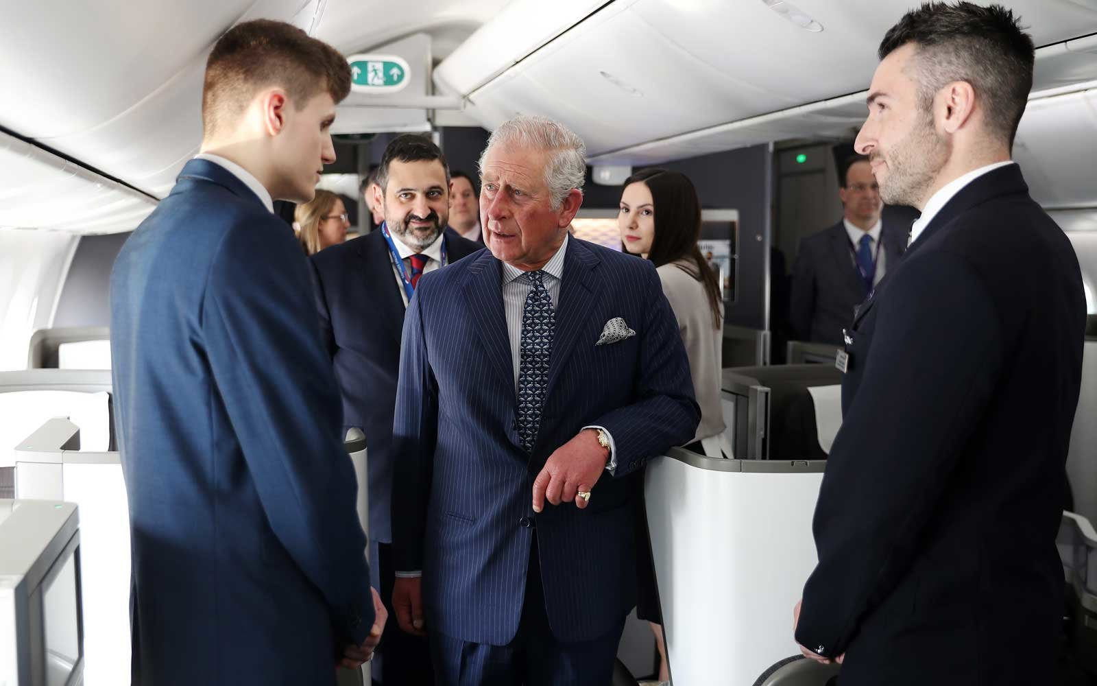 Prince Charles, Prince of Wales speaks to British Airways staff onboard a BA 787 aircraft during a visit to Heathrow Airport on March 13, 2018