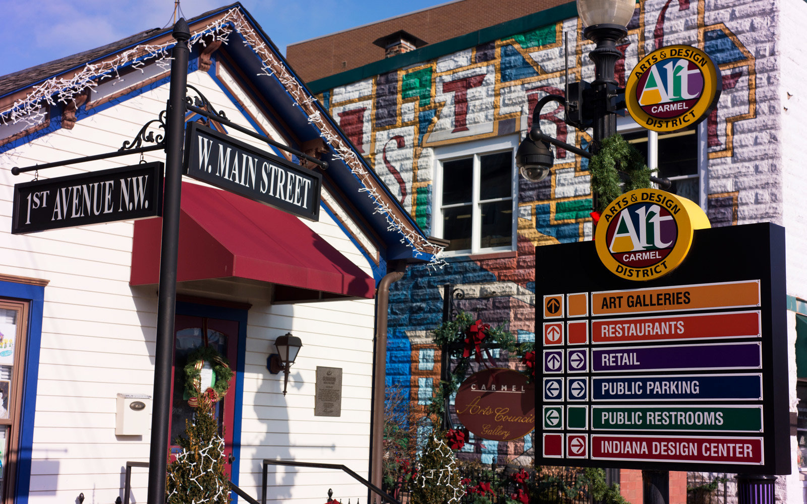 Art and directions for Carmel Arts & Design Dist