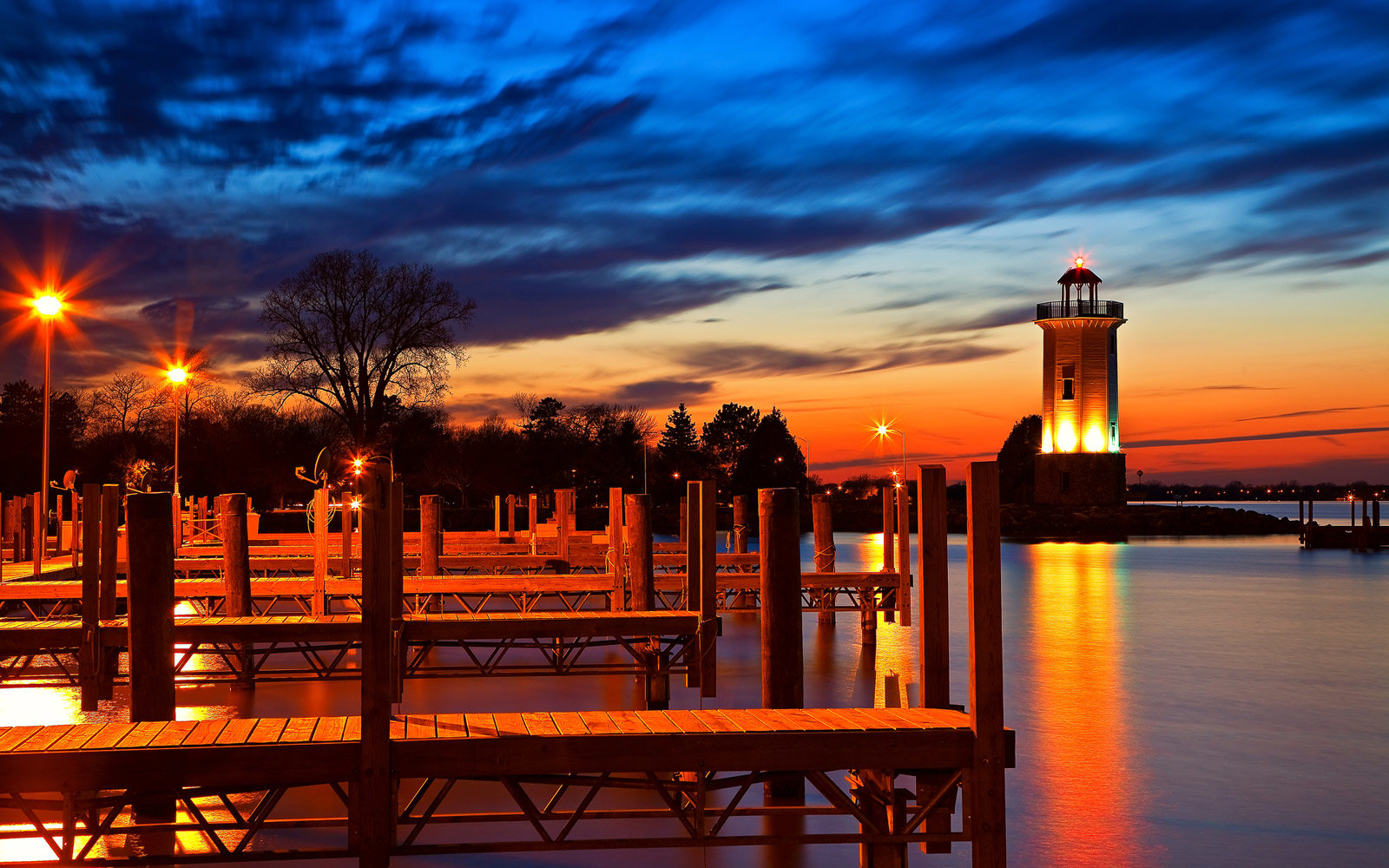 Fond du Lac lighthouse at sunset, Wisconsin
