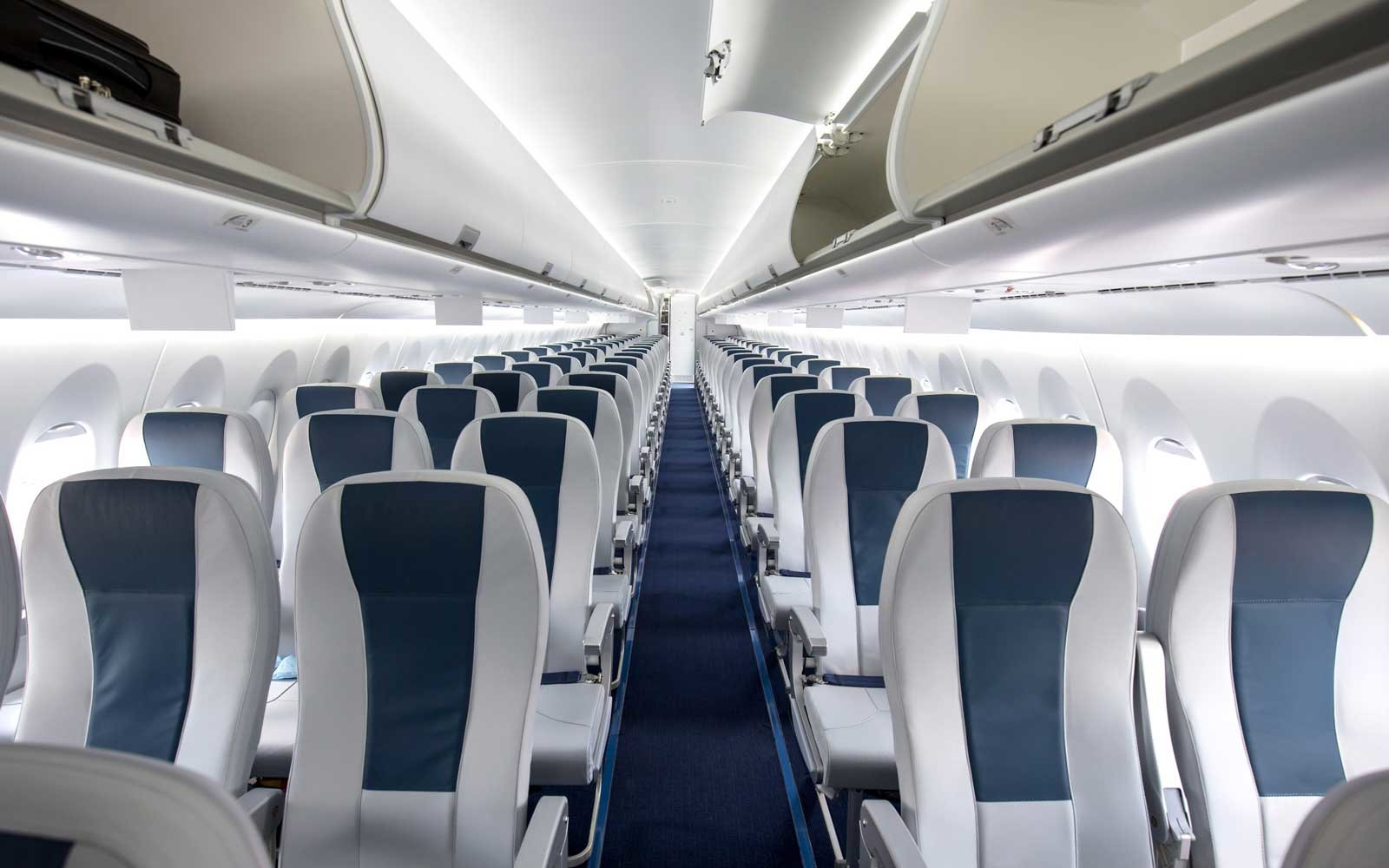 View of seats inside an airplane cabin
