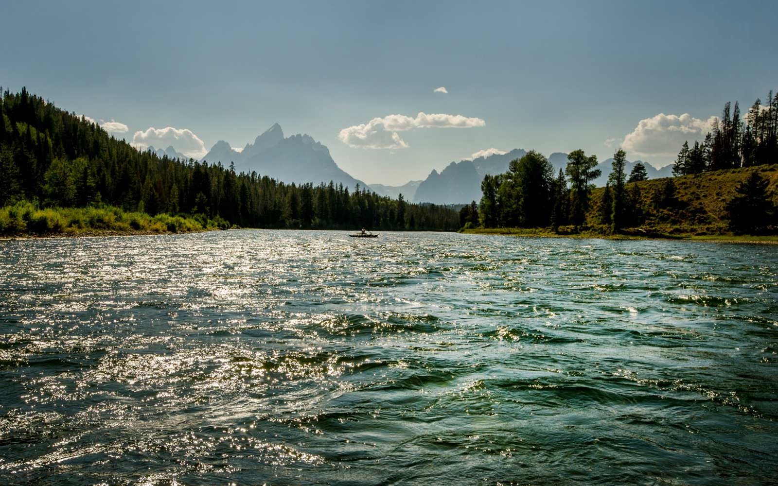 Yellowstone River, Teton Range, and Raft, Montana
