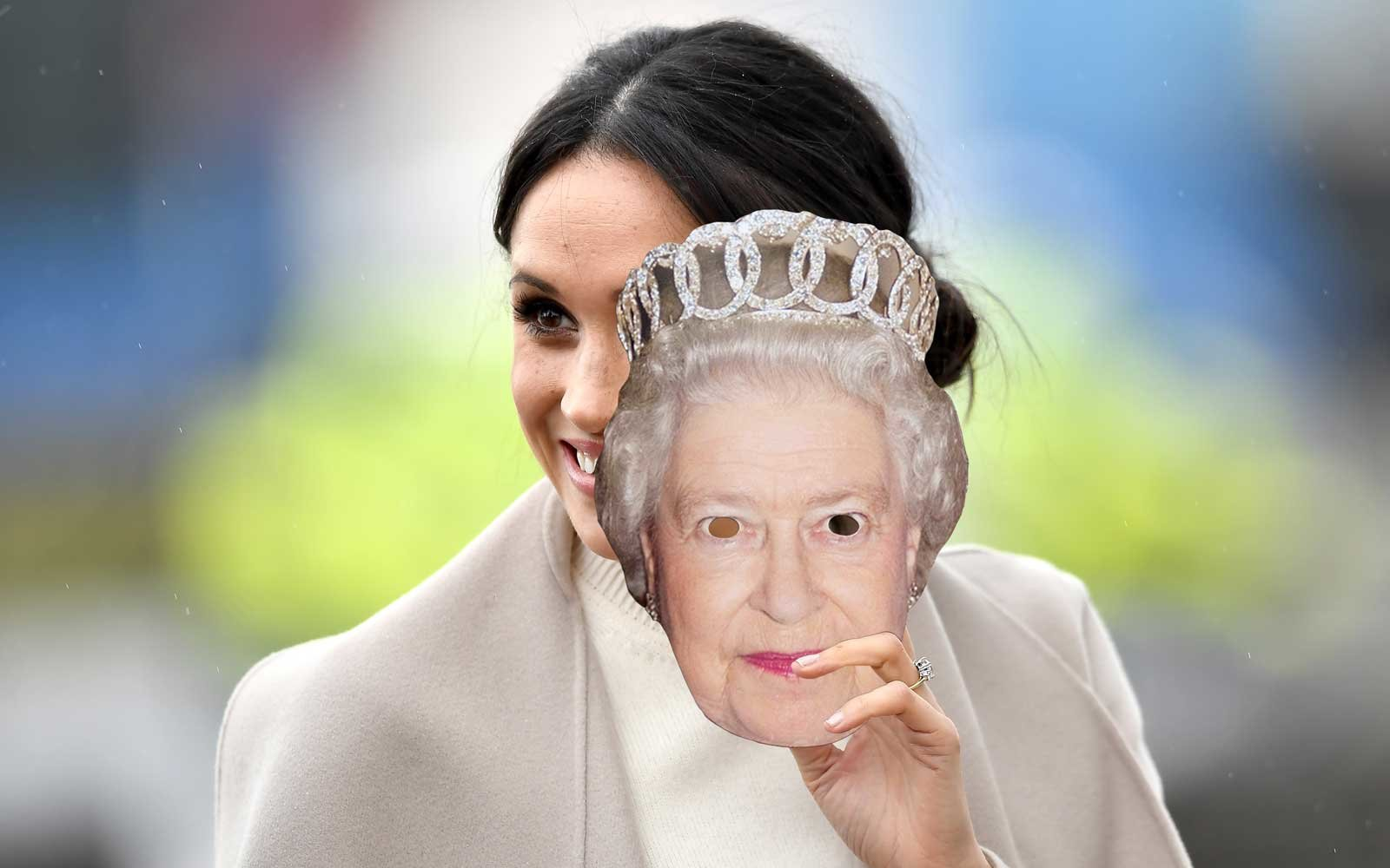 Meghan Marble with Queen Elizabeth Mask