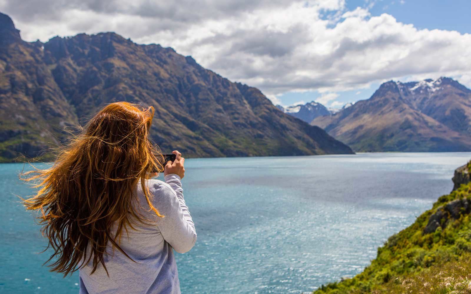 Woman at Lake Wakatipu, New Zealand