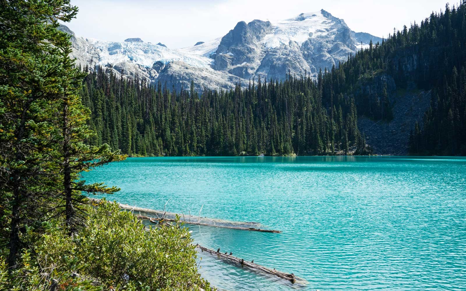 Clear blue waters of Joffre Lake in British Columbia, Canada