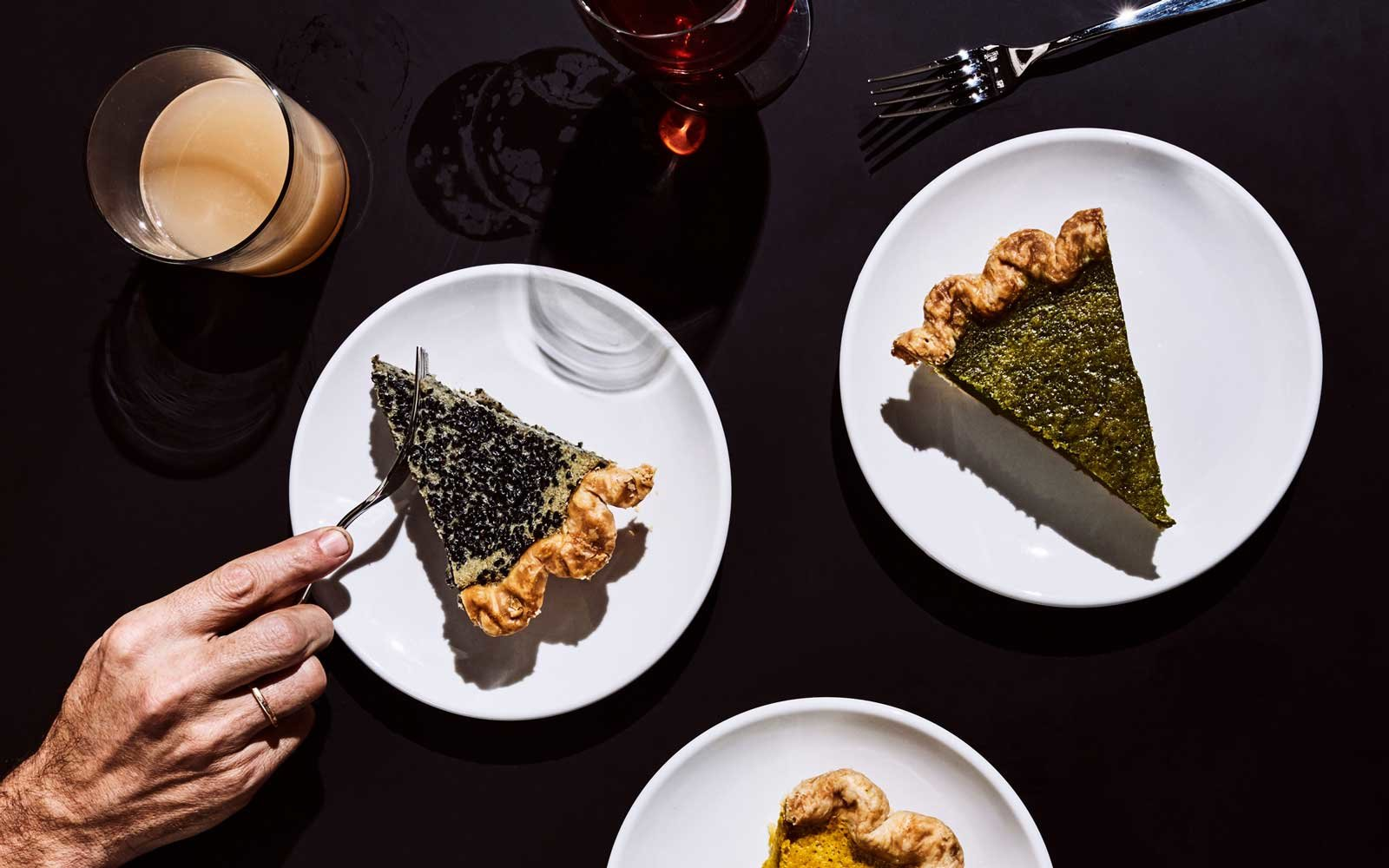 Hojicha and Black-Sesame Custard pies at Four & Twenty Blackbirds