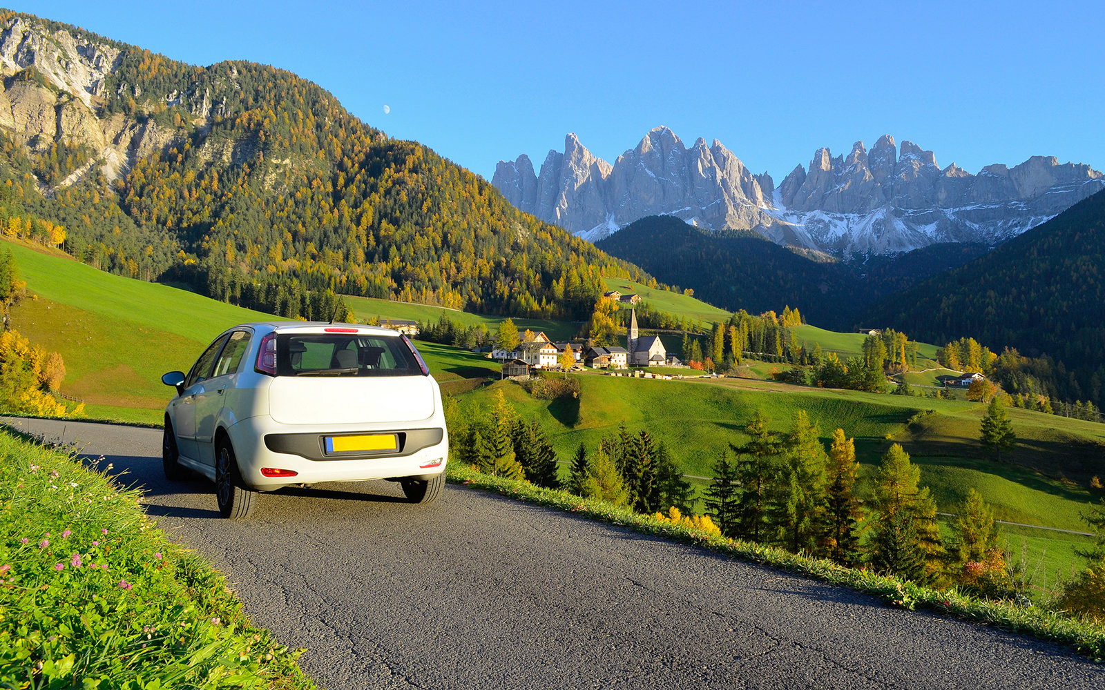 Rental Car in Funes valley in Dolomites area in South Tyrol, Italy