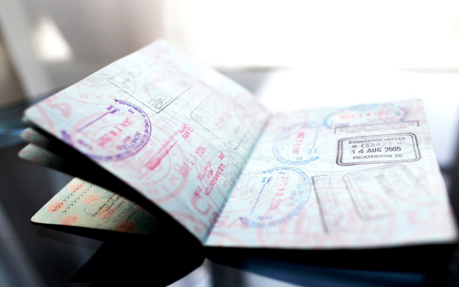 Passport pages with Stamps