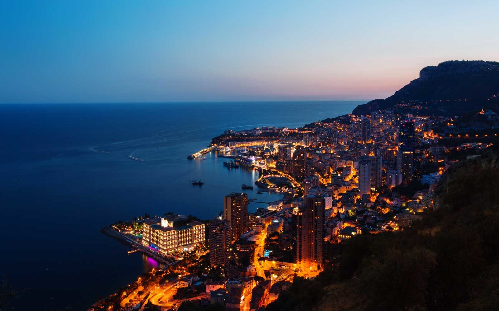Coast of Monaco at dusk