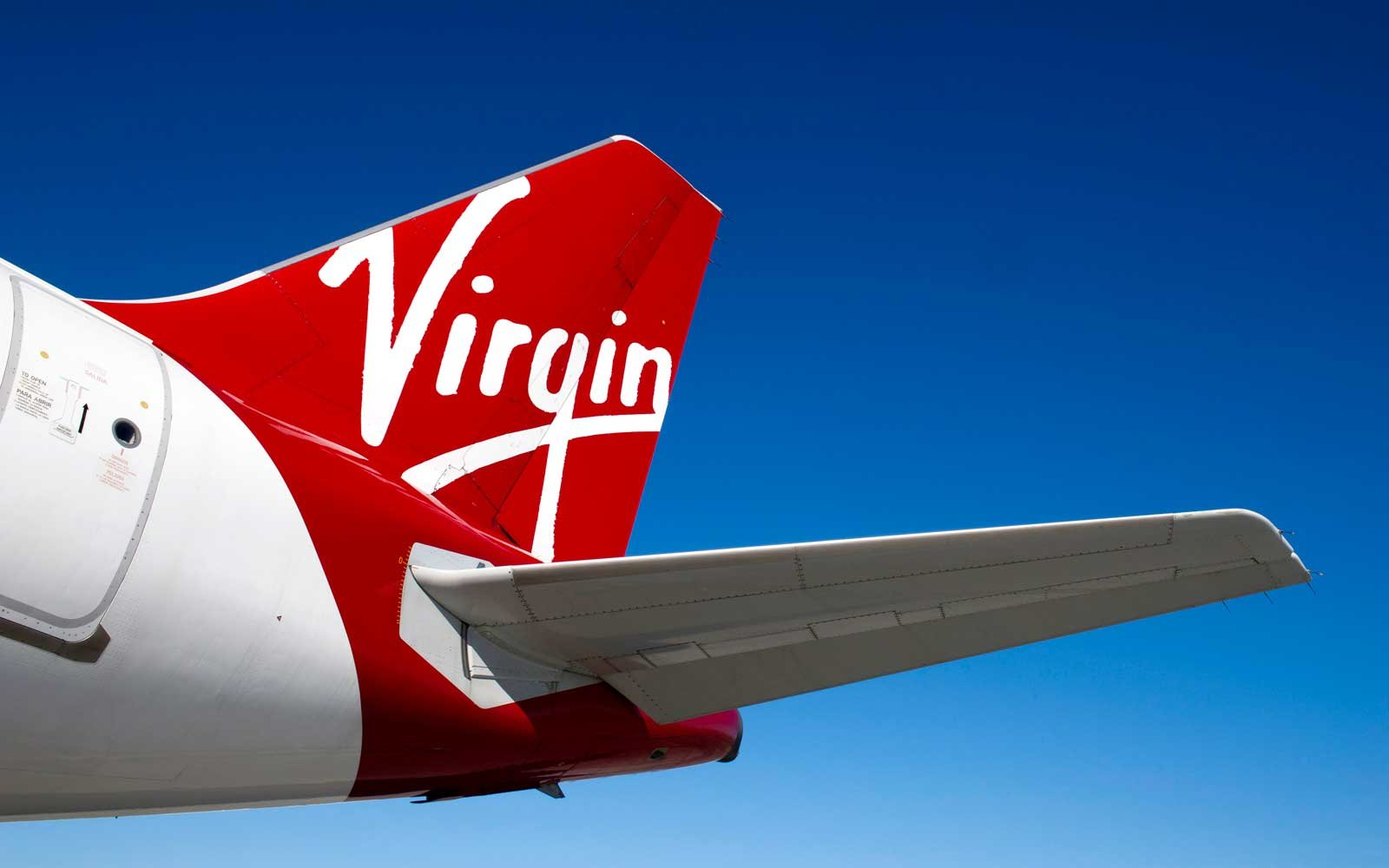 Detail of the tail of a Virgin America plane