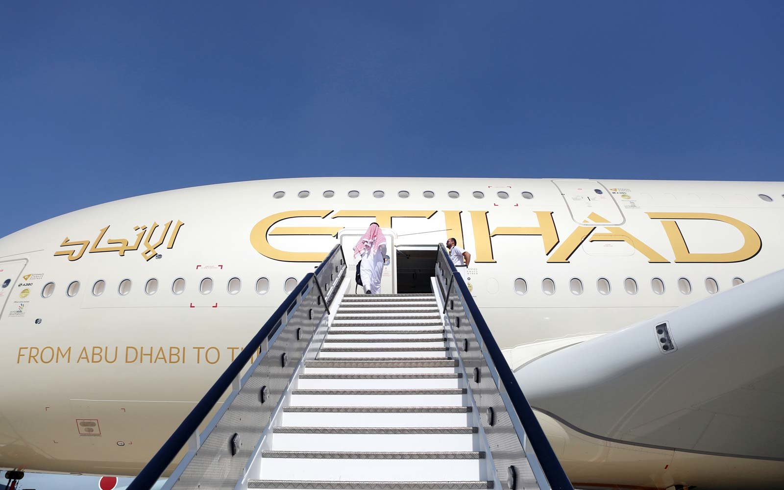 Etihad Airways plane at the Dubai Airshow