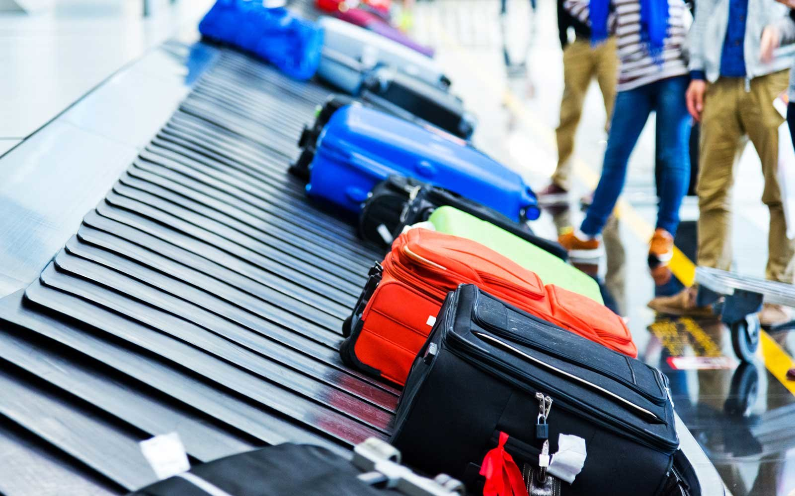 Luggage at baggage claim in airport