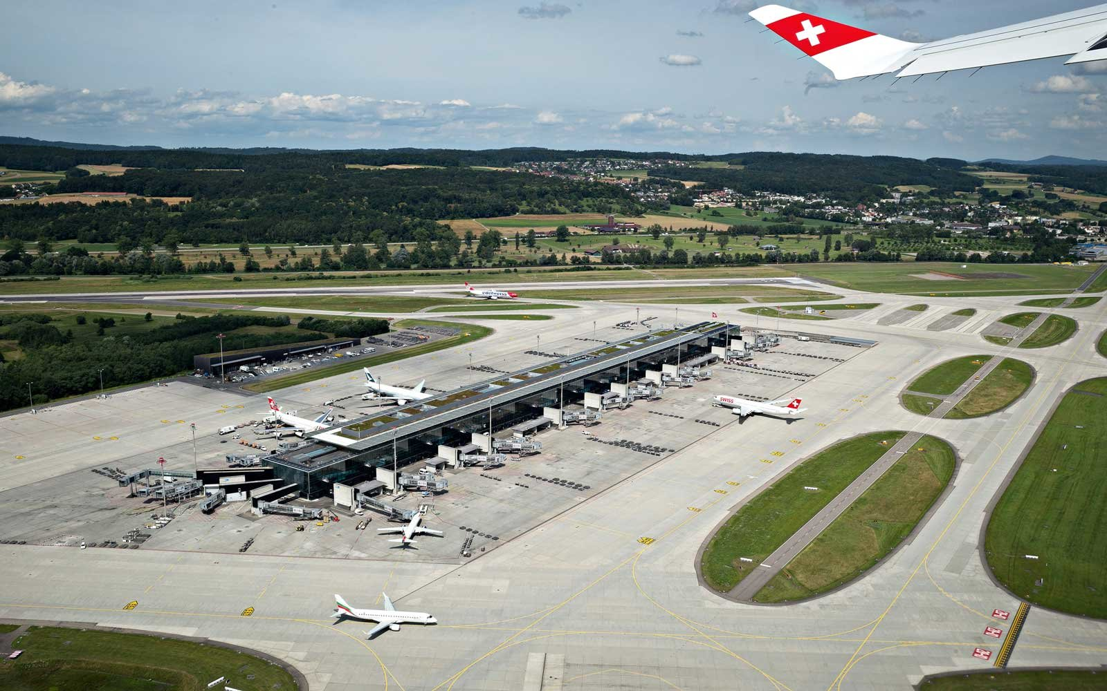 Overview of part of the Zurich Airport, in Switzerland