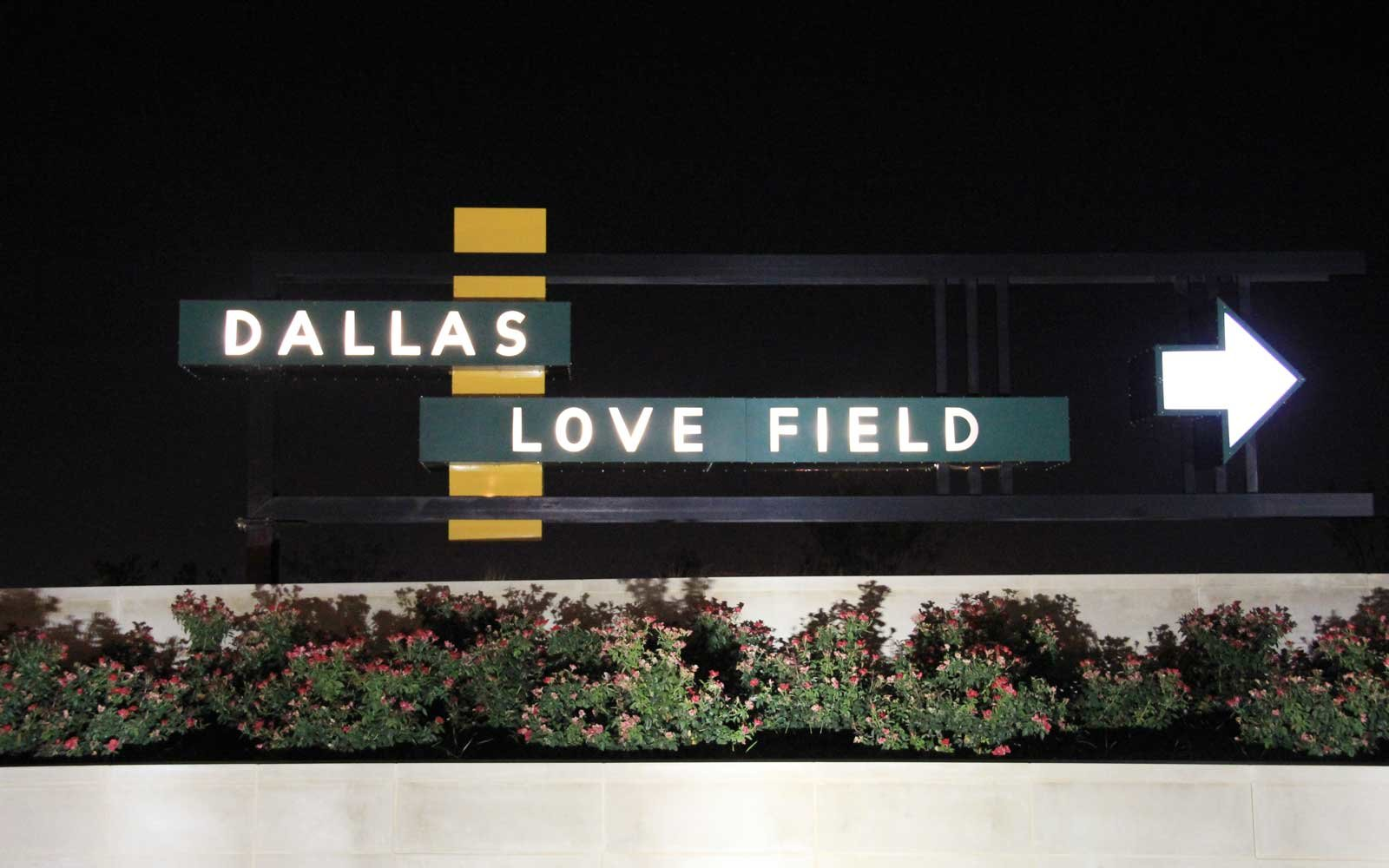 Restored vintage sign at Dallas Love Field Airport