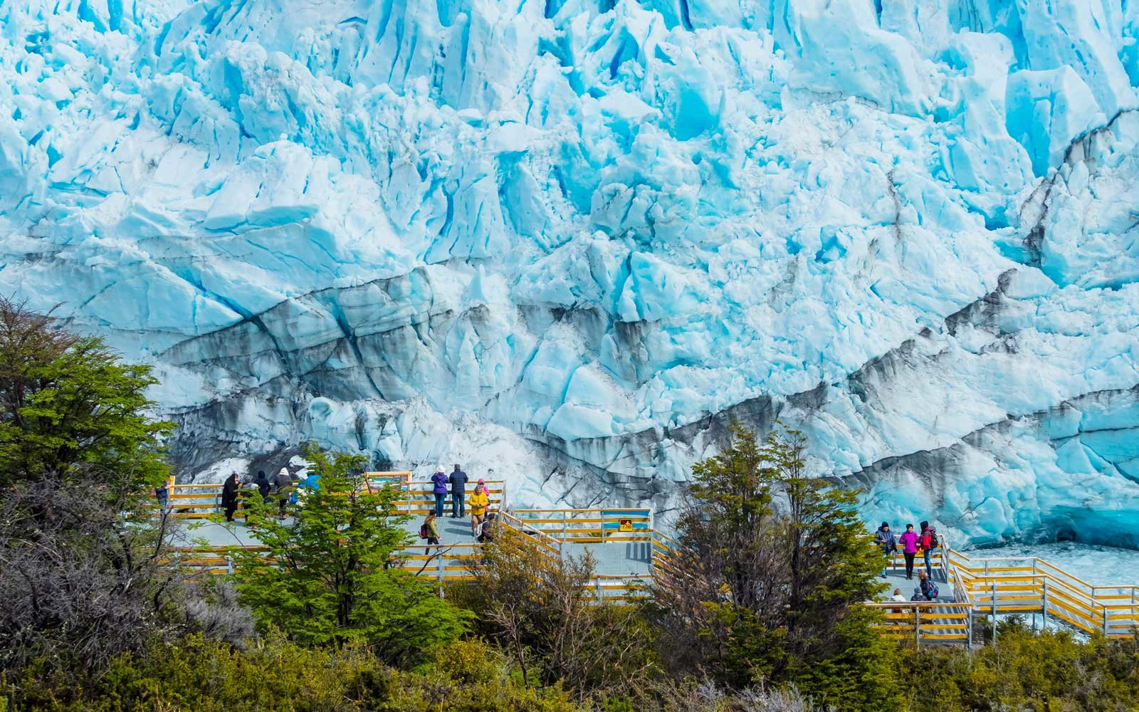 Tourists on a viewing platform at the Perito Moreno glacier in Argentina
