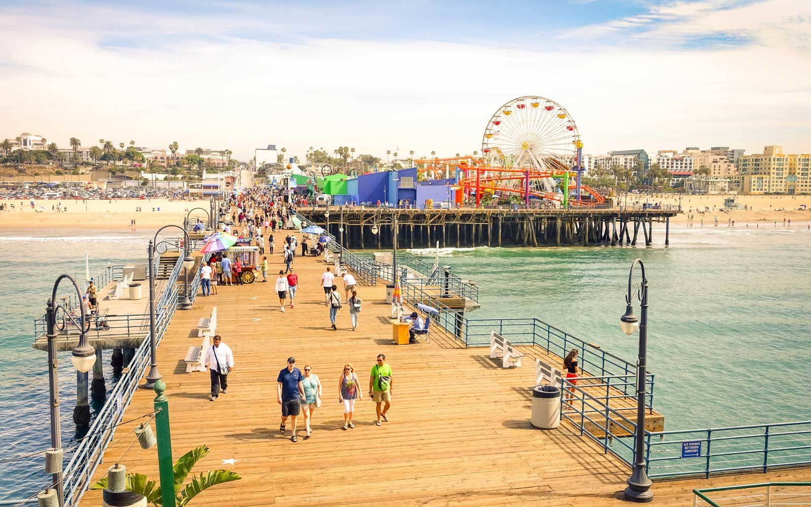 Santa Monica Pier with ferris wheel of Pacific Amusement Park